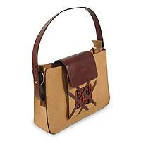 Leather handbag, 'Inca Secrets' - Leather handbag