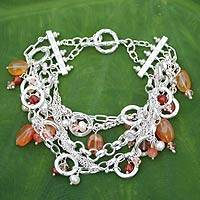 Pearl and carnelian bracelet, 'Sunrise Ceremony' - Pearl and carnelian bracelet