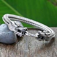 Sterling silver chain bracelet, 'Fierce Dragons' - Sterling Silver Chain Bracelet with Dragon Motifs