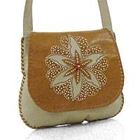 Leather shoulder bag, 'Mandala Bloom' - Leather shoulder bag