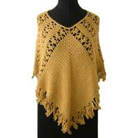 100% alpaca wool poncho, 'Golden Fan' - 100% alpaca wool poncho