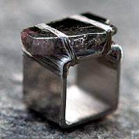 Tourmaline ring, 'Tantalizing' - Square Stainless Steel Ring with Tourmaline
