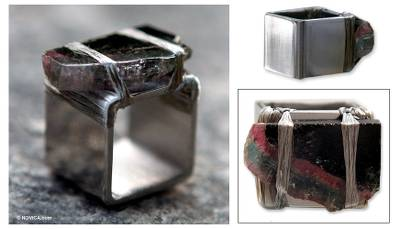 Square Stainless Steel Ring with Tourmaline