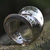 Gold plated ring, 'Tunnel' - Gold plated ring