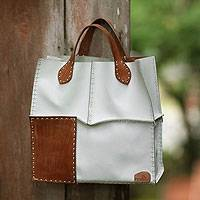 Leather handbag, 'Urban Safari in White' - Leather handbag