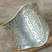 Sterling silver cuff bracelet, 'Astral Signs'