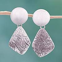 Sterling silver dangle earrings, 'Lustrous' - Sterling silver dangle earrings