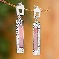 Rose opal dangle earrings, 'Sweet Pink' (Peru)