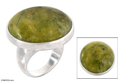 Serpentine cocktail ring, Green Universe