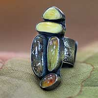 Amber cluster ring, 'Efate Sun' - Amber cluster ring