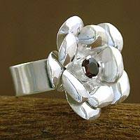 Garnet floral ring, 'Rose Passion' - Garnet floral ring