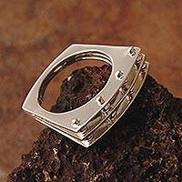 Silver cocktail ring, 'Parallels' - Silver cocktail ring