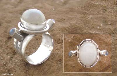 Moonstone cocktail ring, 'Full Bloom Moon' - Moonstone cocktail ring