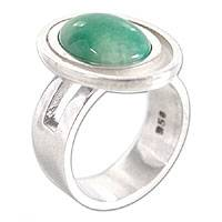 Jade solitaire ring, 'Peaceful Gaze'