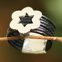 Leather floral ring, 'Blossoming Star' - Leather floral ring