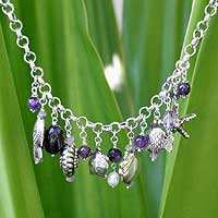 Pearl and amethyst pendant necklace, 'Open Sea' - Pearl and amethyst pendant necklace