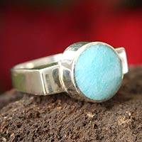 Amazonite solitaire ring, 'Celestial' - Amazonite solitaire ring