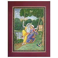 Miniature painting, 'Swing of Love' - Miniature painting