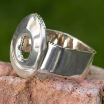Sterling silver cocktail ring, 'Spring Crater' - Sterling silver cocktail ring