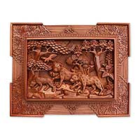 Wood relief panel, 'Leopards in the Forest' - Wood relief panel