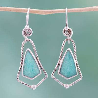 Amazonite dangle earrings, 'Belles' - Amazonite dangle earrings