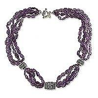 Amethyst beaded necklace, 'Grape Twist' - Amethyst beaded necklace