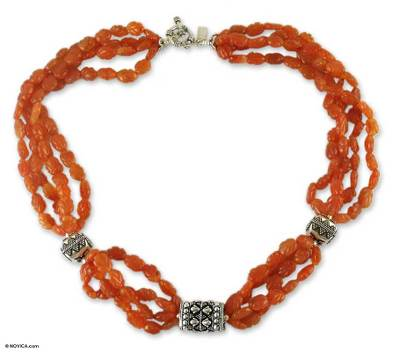 Carnelian beaded necklace, 'Orange Twist' - Carnelian beaded necklace