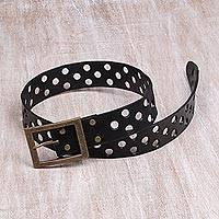 Leather belt, 'Peek-a-boo Espresso' - Leather belt