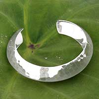 Sterling silver cuff bracelet, 'Ethereal' - Sterling silver cuff bracelet