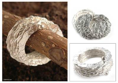 Sterling silver band rings, 'Energy' (set of 10) - Sterling silver band rings