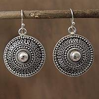 Sterling silver dangle earrings, 'Ancient Sun' - Sterling silver dangle earrings