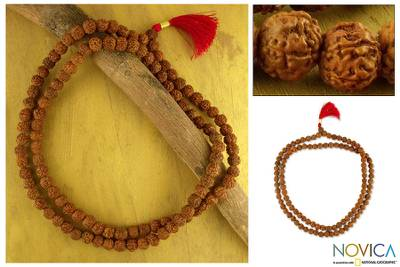Rudraksha seed jap mala prayer beads, 'Pray' - Rudraksha seed jap mala prayer beads
