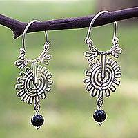 Onyx hoop earrings, 'Xico Flower' - Onyx hoop earrings