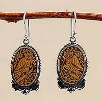 Sterling silver and mate gourd dangle earrings, 'Solemn Owl' (Peru)