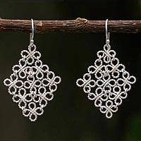 Silver filigree earrings, 'Clover' - Silver filigree earrings