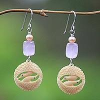Fossilized mammoth tusk dangle earrings, 'Herons in Harmony' - Fossilized mammoth tusk dangle earrings
