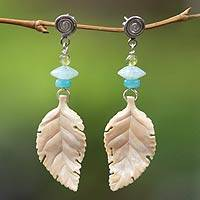 Fossilized mammoth tusk dangle earrings, 'Falling Leaf' - Fossilized mammoth tusk dangle earrings