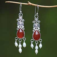 Pearl & carnelian chandelier earrings, 'Sunset Drop' - Pearl & carnelian chandelier earrings