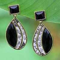 Gold plated onyx and snakeskin dangle earrings,