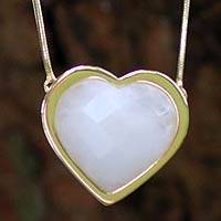 Gold plated dolomite heart necklace, 'True To You' (Brazil)