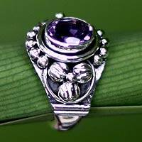 Amethyst solitaire ring, 'Bird Song' - Amethyst solitaire ring