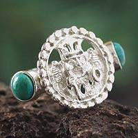 Chrysocolla cocktail ring, 'Inca Star Walker' - Chrysocolla cocktail ring