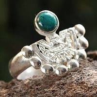 Chrysocolla cocktail ring, 'Inca Iridescence' - Chrysocolla cocktail ring