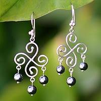 Hematite chandelier earrings, 'Pinwheel' - Hematite chandelier earrings