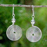 Sterling silver dangle earrings, 'Look Inside' - Sterling silver dangle earrings