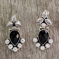 Onyx and quartz dangle earrings, Midnight Dewdrops
