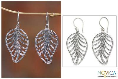 Sterling silver dangle earrings, 'Nature' - Sterling silver dangle earrings