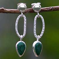 Chrysocolla dangle earrings, 'Precious Dewdrops' - Chrysocolla dangle earrings