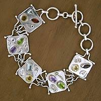 Citrine and amethyst link bracelet, 'Cipher' - Citrine and amethyst link bracelet