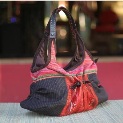 Cotton hobo handbag, 'Hmong Color' - Cotton hobo handbag